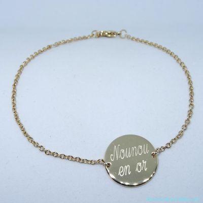 Bracelet personnalisé pastille sur chaîne plaqué or