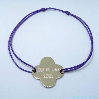 Bracelet trèfle plat arrondi plaqué or