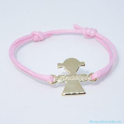 Bracelet personnalisé : bracelet petite fille plaqué or