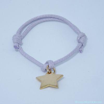 Bracelet personnalisé : L'étoile en plaqué or avec bélière