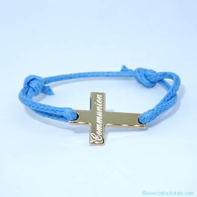 Bracelet personnalisé croix plaqué or sur cordon