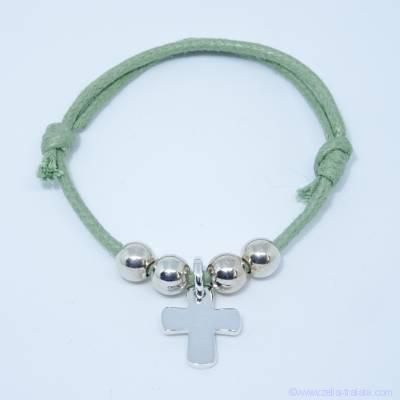 Bracelet personnalisé, croix et perles en argent sur cordon
