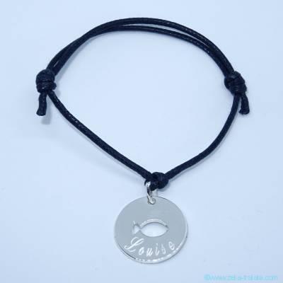 Bracelet personnalisé médaille ronde argent, poisson