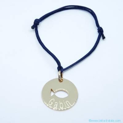 Bracelet personnalisé médaille plaqué or, poisson