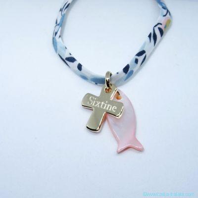 Pendentif personnalisé poisson et croix plaqué or, sur cordon de Liberty