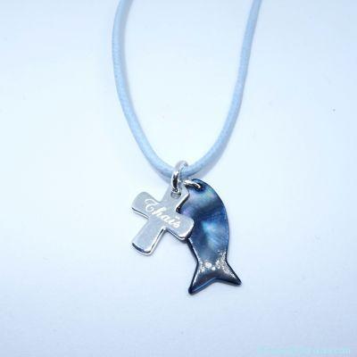 Pendentif personnalisé poisson et croix en argent, sur cordon en coton ciré