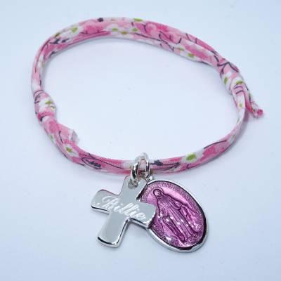 Bracelet personnalisé Médaille miraculeuse rose,  croix argent