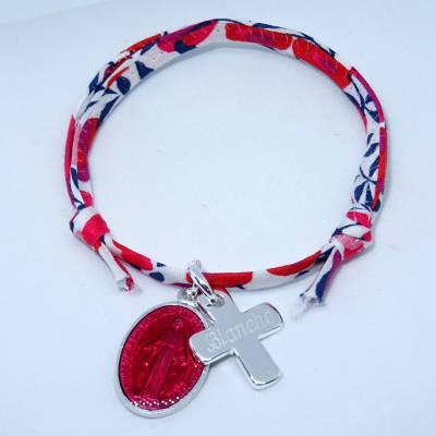 Bracelet personnalisé médaille miraculeuse rouge,  croix argent