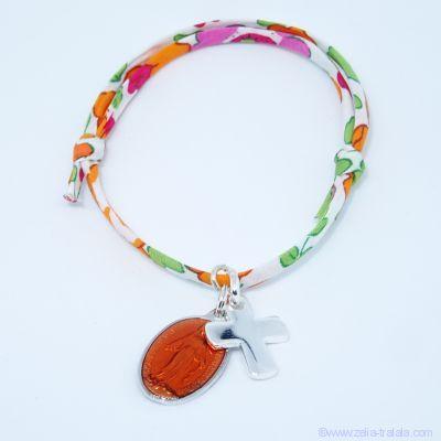 Bracelet personnalisé médaille miraculeuse orange,  croix argent