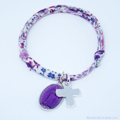 Bracelet personnalisé médaille miraculeuse violette,  croix argent