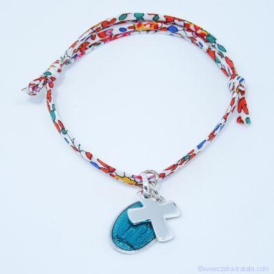 Bracelet personnalisé médaille miraculeuse verte,  croix argent