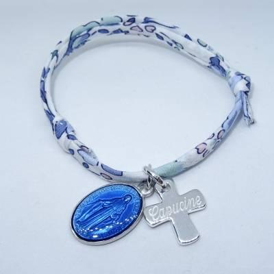 Bracelet personnalisé médaille miraculeuse bleu foncé,  croix argent