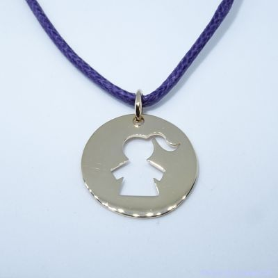 Pendentif personnalisé :  La médaille fillette plaqué or