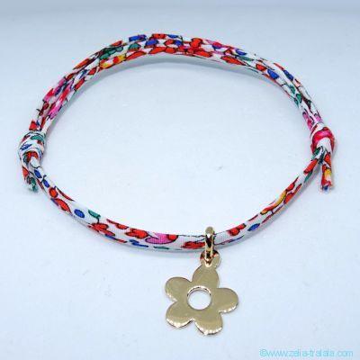 Bracelet fleur plaqué or sur Liberty