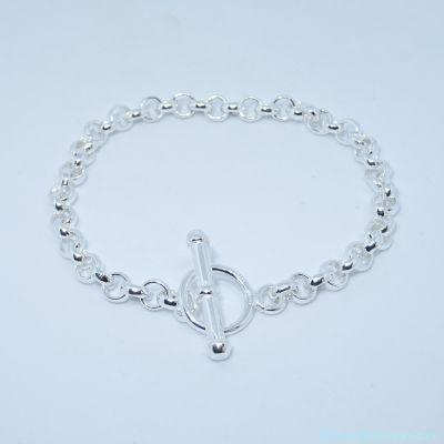 Bracelet seul argent, fermoir T  épaisseur 5 mm