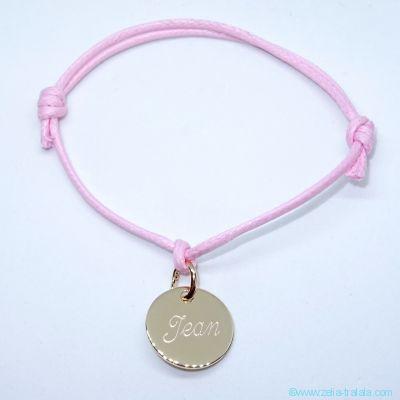 Bracelet personnalisé petite médaille plaqué or