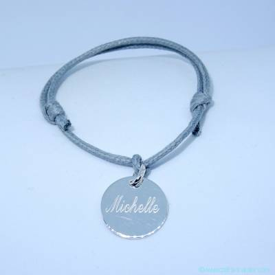 Bracelet personnalisé petite médaille en argent