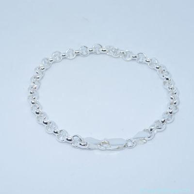 Bracelet seul argent, fermoir mousqueton  épaisseur 5 mm