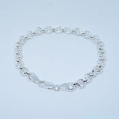 Bracelet seul argent, fermoir mousqueton  épaisseur 6 mm