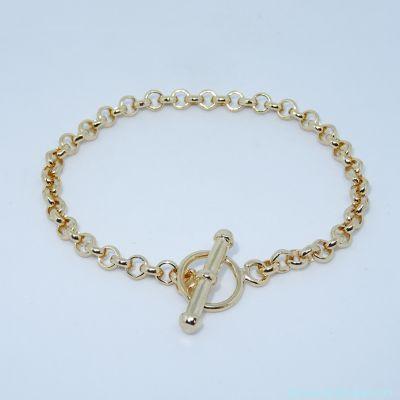 Bracelet seul plaqué or, fermoir T, épaisseur 5 mm