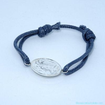 Bracelet médaille de Lourdes en argent sur cordon