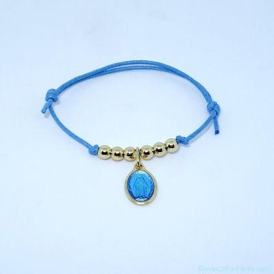 Bracelet perles en plaqué or et mini médaille miraculeuse
