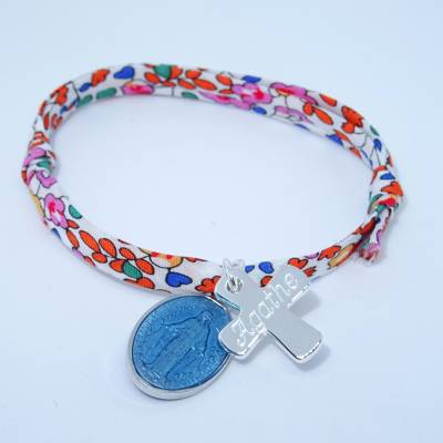 Bracelet personnalisé médaille miraculeuse turquoise,  croix argent