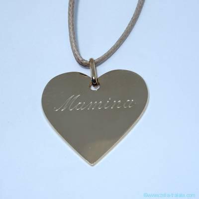 Pendentif personnalisé, grand coeur en plaqué or