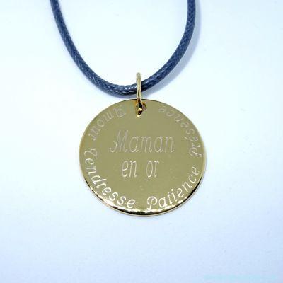 Médaille plate moyenne en plaqué or