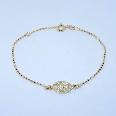 Bracelet médaille Miraculeuse sur chaîne en plaqué or