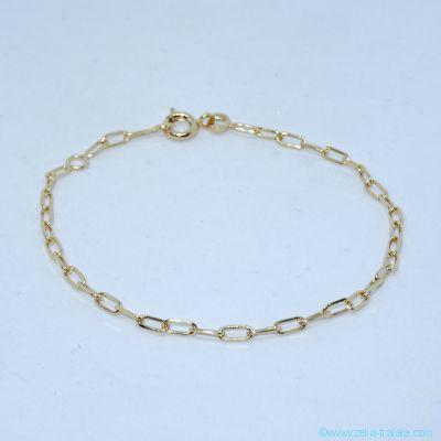 Bracelet seul, maille allongée très fine, en plaqué or