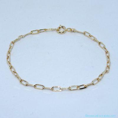 Bracelet seul, maille allongée fine, en plaqué or