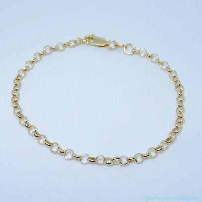 Bracelet seul plaqué or, mousqueton, épaisseur 5 mm