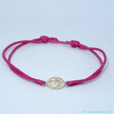 Bracelet mini médaille Miraculeuse en plaqué or sur cordon fin