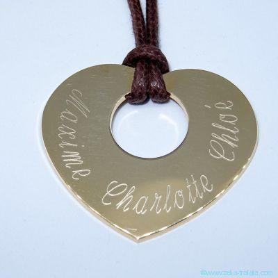 Pendentifs personnalisés : Le grand cœur plat, plaqué or