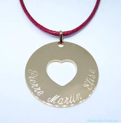 Pendentifs personnalisés : la grande médaille cœur évidé plaqué or