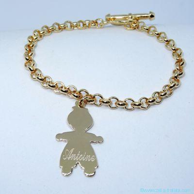 Bracelet personnalisé plaqué or une breloque