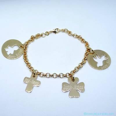 Bracelet personnalisé plaqué or quatre breloques