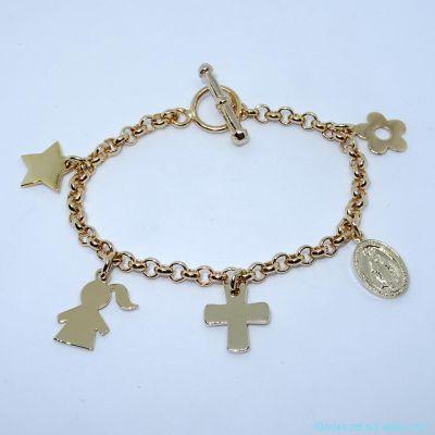 Bracelet personnalisé plaqué or cinq breloques