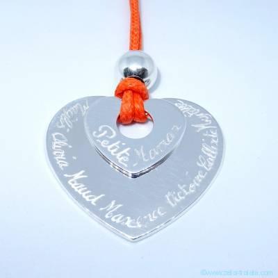 Pendentifs personnalisés : Le double cœur argent avec perle