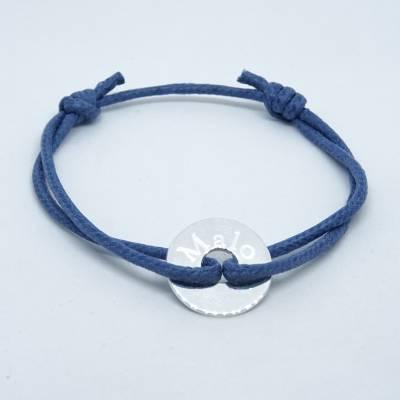 Bracelet personnalisé : Mini cible argent sur cordon