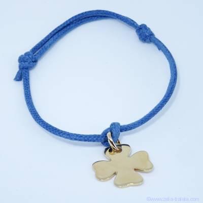 Bracelet médaille gravée argent, petit trèfle plat