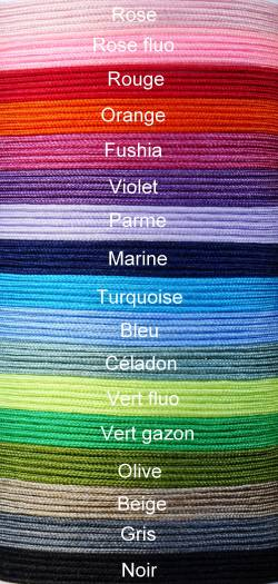 CORDONS satiné souple - 0,8 mm Choisissez et indiquez la couleur lors de votre commande parmi les 8 couleurs disponibles
