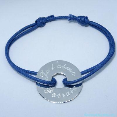 Bracelet homme en argent gravé