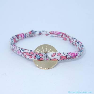 Bracelet mini cible à graver plaqué or sur Liberty