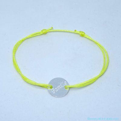 Bracelet personnalisé mini pastille en argent sur cordon