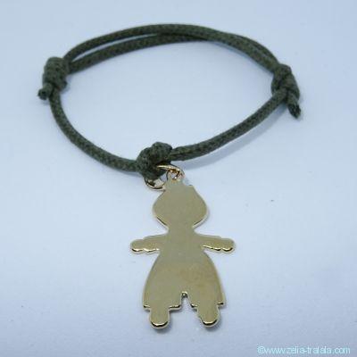 Bracelet personnalisé : bracelet petit garçon en plaqué or avec bélière