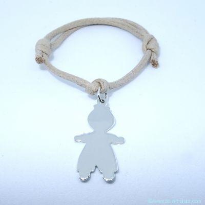 Bracelet personnalisé : bracelet petit garçon en argent avec bélière