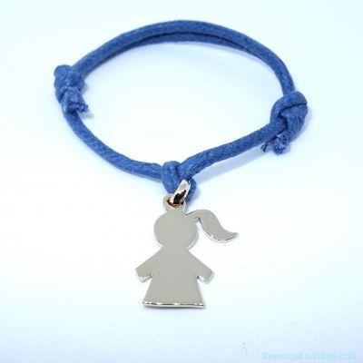 Bracelet personnalisé : fillette plaqué or avec bélière