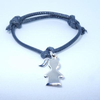Bracelet personnalisé : fillette en argent avec bélière